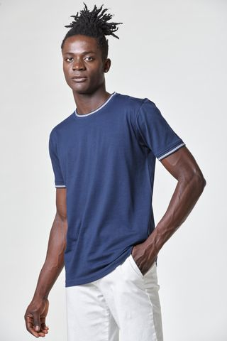 Blue t-shirt with white striped rib collar Angelico
