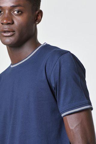 t-shirt blu collo rigato bianco costina Angelico
