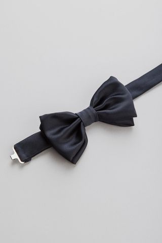 navy silk bow tie Angelico