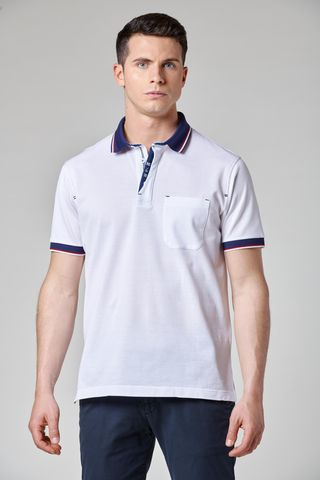 white polo blue collar embroidered placket Angelico