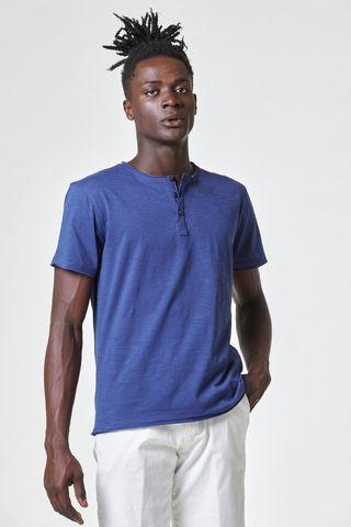 Blue slub jersey henley t-shirt Angelico