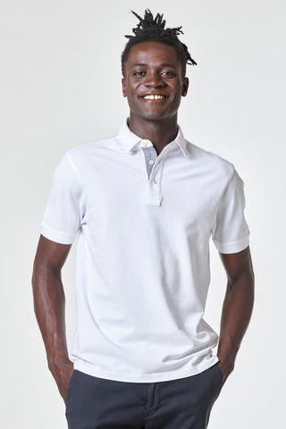 white piquet polo shirt collar Angelico