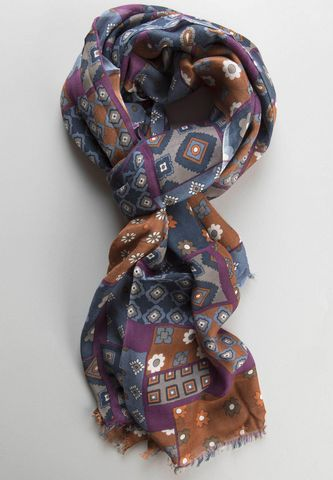 blue-violet-brown patchwok scarf Angelico