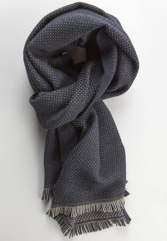 Sciarpa blu lana pois grigi piccoli Angelico