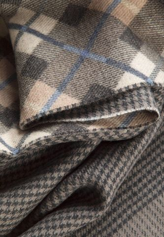 hazelnut scarf checked and houndstooth side Angelico