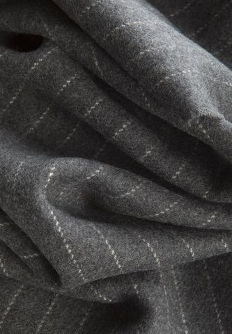pinstriped charcoal scarf with fringes Angelico