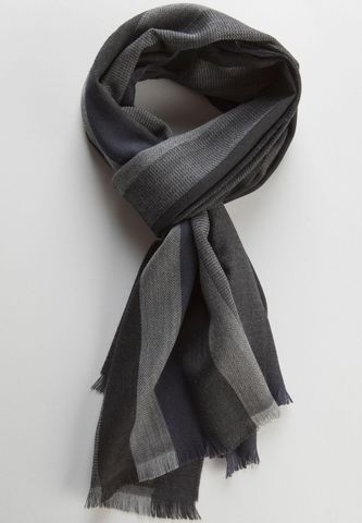 Sciarpa nera grigia rigata larga lana Angelico