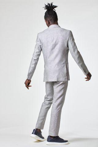 abito grigio chiaro lino sfoderato slim Angelico