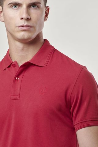 red polo shirt with embroidered logo Angelico