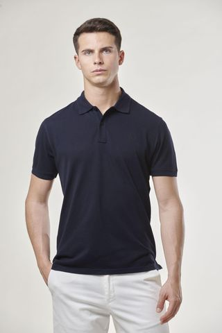 navy polo shirt with embroidered logo Angelico