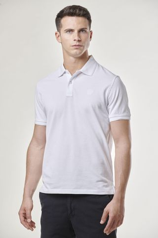 white polo shirt with embroidered logo Angelico