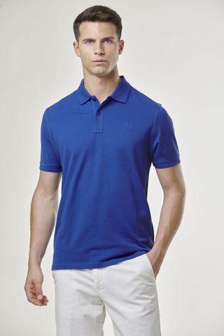 royal blue polo shirt embroidered logo Angelico