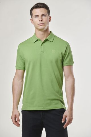 pea green polo shirt embroidered logo Angelico