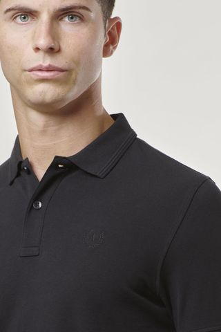 black polo shirt with embroidered logo Angelico