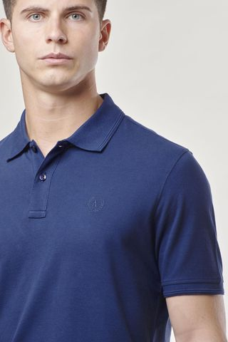 blue polo shirt with embroidered logo Angelico