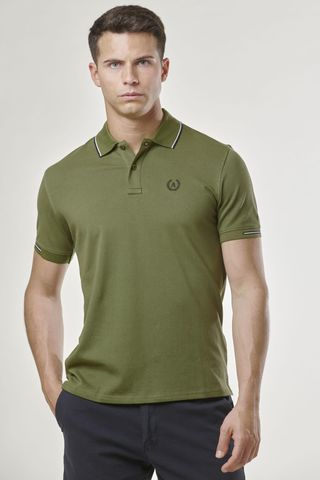 olive green polo navy border and embroidery Angelico