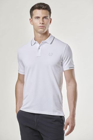 white polo gray border and contrasting embroidery Angelico