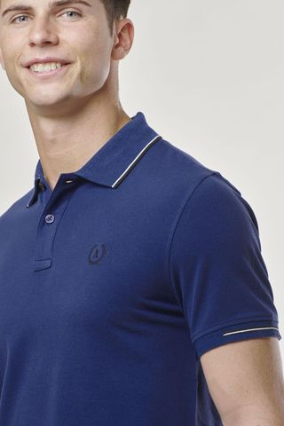 marine polo navy border and contrasting embroidery Angelico