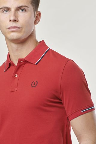 red polo navy border and contrasting embroidery Angelico