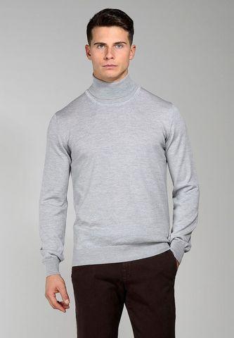 light grey turtleneck merino pullover Angelico