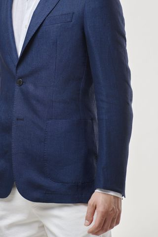 blue linen jacket slim Angelico