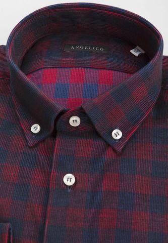navy-burgundy checkered corduroy shirt Angelico