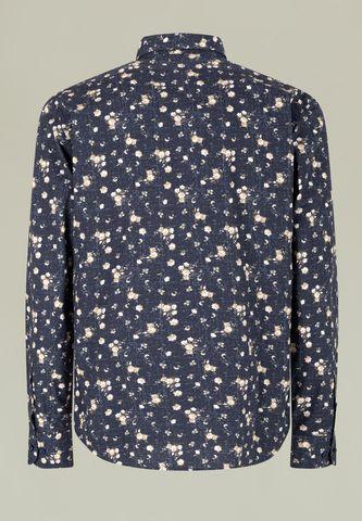 blue shirt flowered beige pattern Angelico