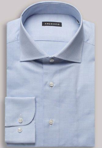 camicia azzurra micro-armatura slim Angelico
