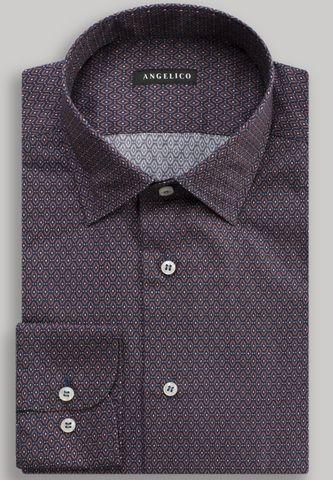 camicia marrone-blu rombi slim Angelico