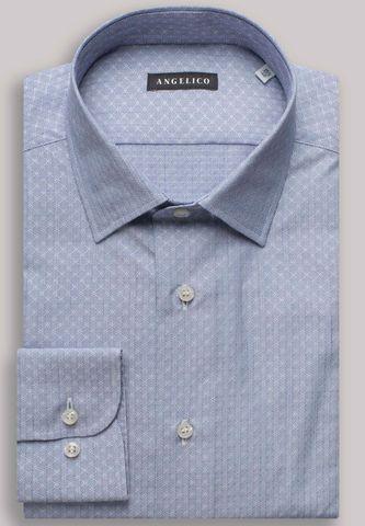 camicia blu operata rombi slim Angelico