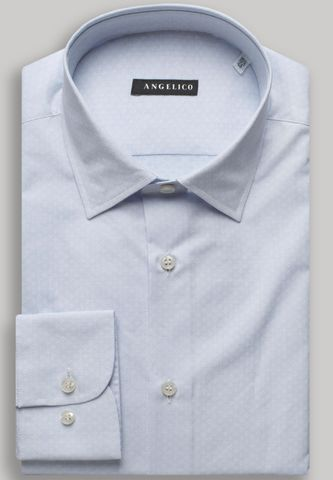 camicia celeste stampa microfantasia Angelico