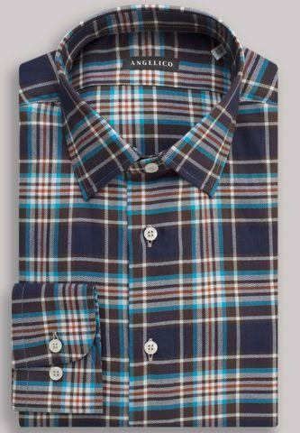 camicia quadri galles blu-mattone Angelico