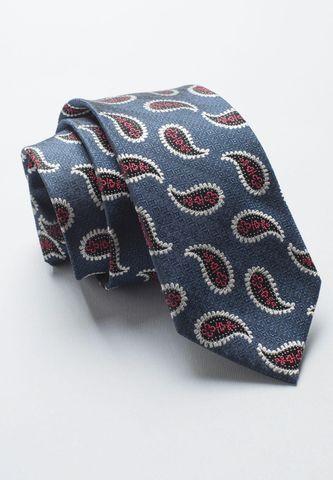 cravatta blu seta fantasia rossa cachemire Angelico