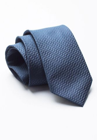 cravatta blu scuro unita seta jacquard Angelico