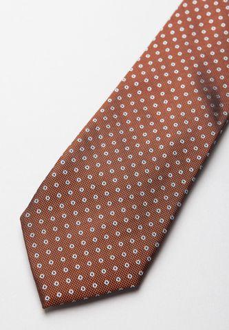 cravatta marrone seta pois medi grigi Angelico