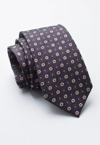 cravatta blu seta pois fiori beige Angelico