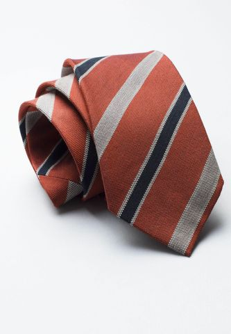 cravatta mattone-grigio regimental lana-seta Angelico