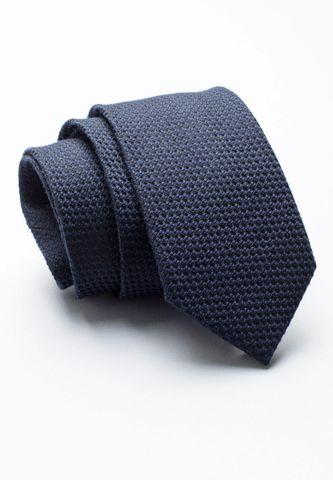 cravatta blu unita lana-seta jacquard Angelico