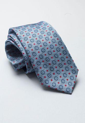 cravatta azzurra seta quadretti rossi Angelico