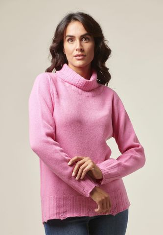 Dolcevita rosa lana rotture e nodi Angelico