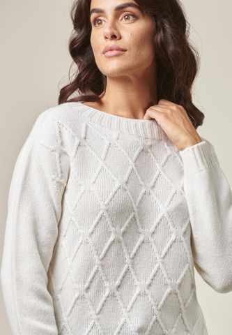 maglia panna lana soft lavorazione rombi Angelico