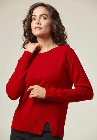 maglia rossa merino corta bordi alti e spacco Angelico