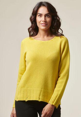 maglia gialla lana rotture e nodi Angelico