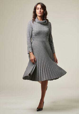 vestito grigio galles midi plisse Angelico