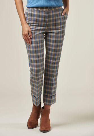 pantalone azzurro-beige quadri cropped Angelico