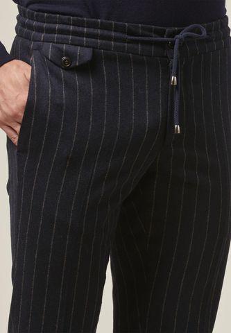pantalone blu gessato lana coulisse slim Angelico
