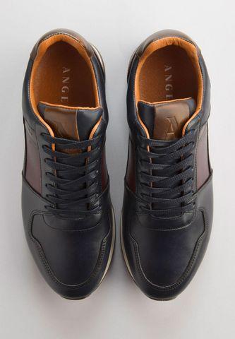 scarpa sneakers blu pelle inserti Angelico
