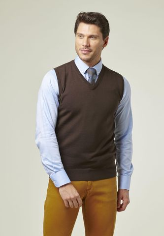 brown v merinos vest sweater Angelico