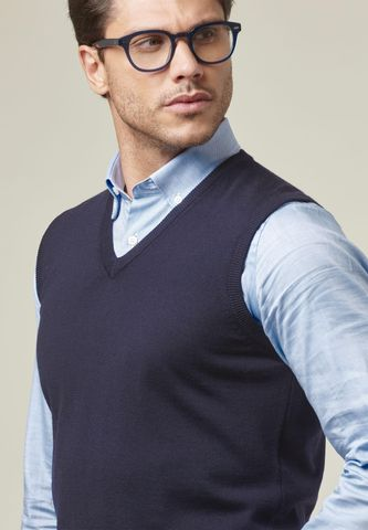 navy v merinos vest sweater Angelico