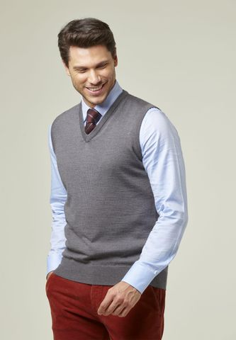 dark grey v merinos vest sweater Angelico